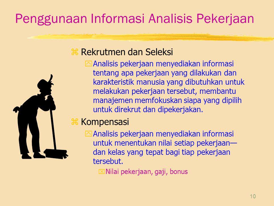 10 Penggunaan Informasi Analisis Pekerjaan zRekrutmen dan Seleksi yAnalisis pekerjaan menyediakan informasi tentang apa pekerjaan yang dilakukan dan k
