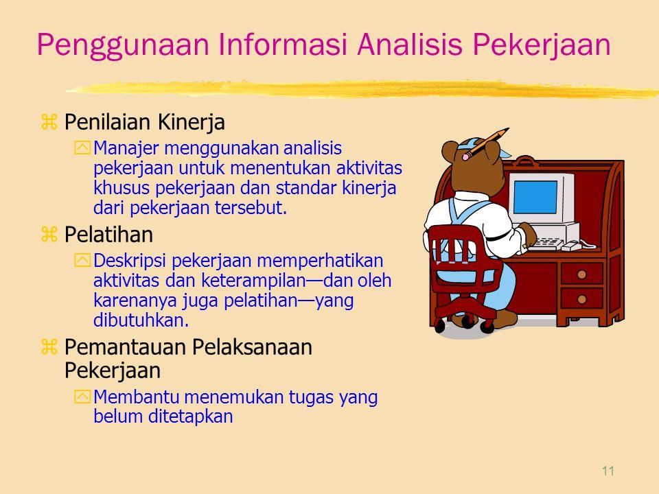 11 Penggunaan Informasi Analisis Pekerjaan zPenilaian Kinerja yManajer menggunakan analisis pekerjaan untuk menentukan aktivitas khusus pekerjaan dan