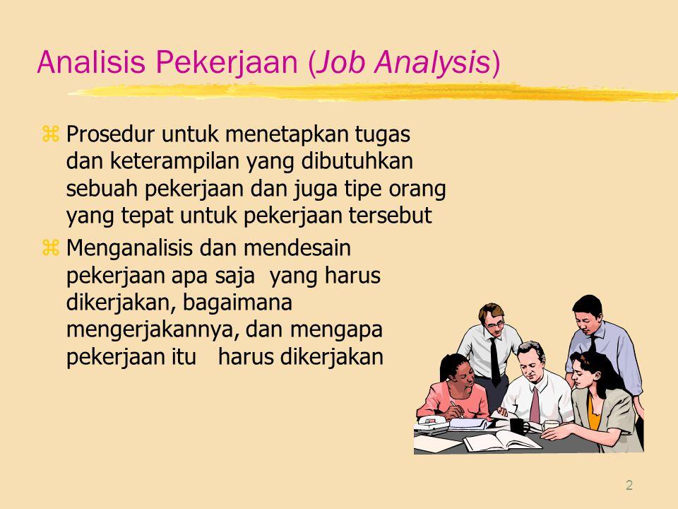 2 Analisis Pekerjaan (Job Analysis) zProsedur untuk menetapkan tugas dan keterampilan yang dibutuhkan sebuah pekerjaan dan juga tipe orang yang tepat