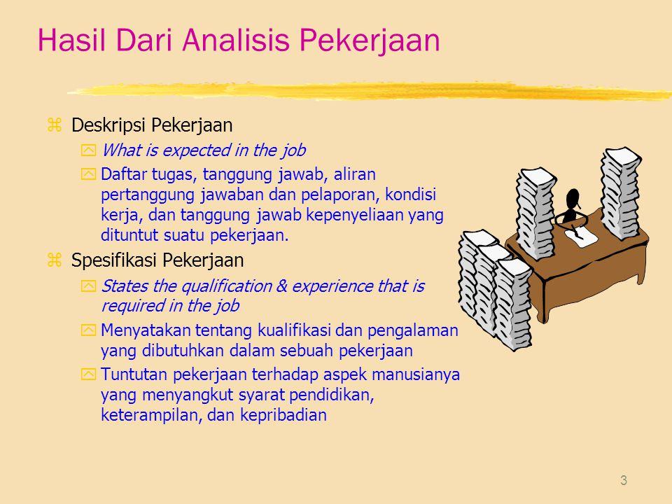 14 Penggunaan Informasi Analisis Pekerjaan zPeramalan dan Perekrutan yInformasi analisis jabatan digunakan untuk peramalan dan perekrutan tenaga kerja yg akan dibutuhkan perusahaan.