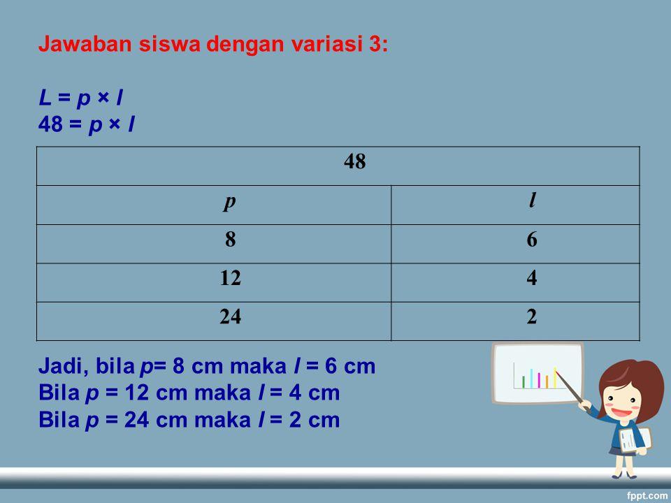 Jawaban siswa dengan variasi 3: L = p × l 48 = p × l Jadi, bila p= 8 cm maka l = 6 cm Bila p = 12 cm maka l = 4 cm Bila p = 24 cm maka l = 2 cm 48 pl