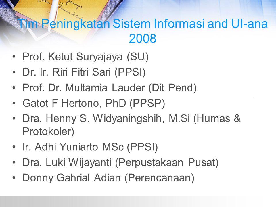 Tim Peningkatan Sistem Informasi and UI-ana 2008 Prof.
