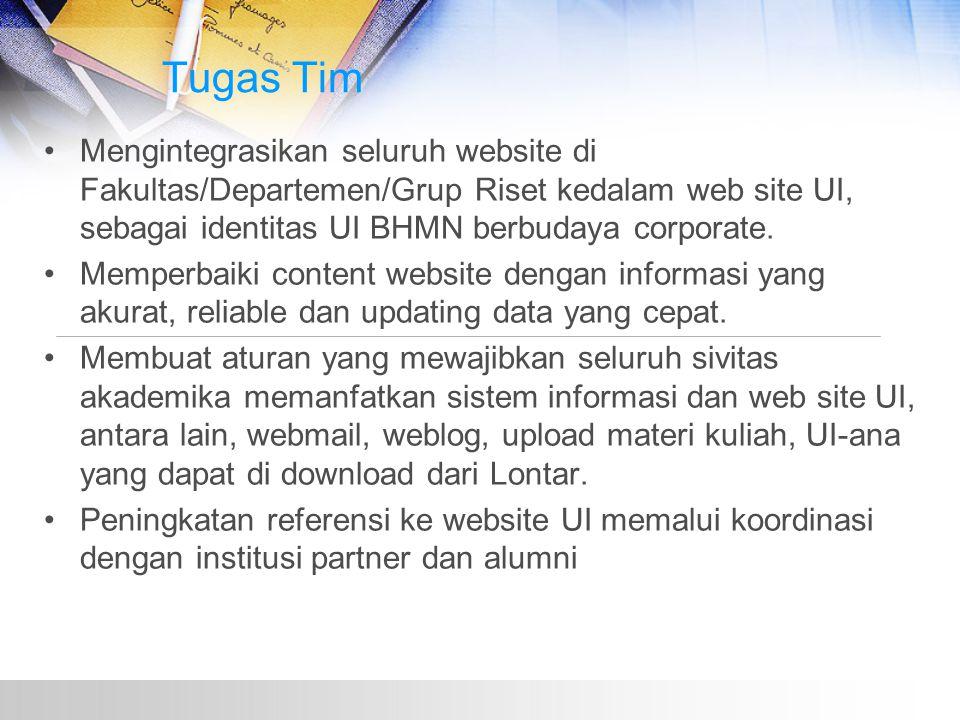 Tugas Tim Mengintegrasikan seluruh website di Fakultas/Departemen/Grup Riset kedalam web site UI, sebagai identitas UI BHMN berbudaya corporate.