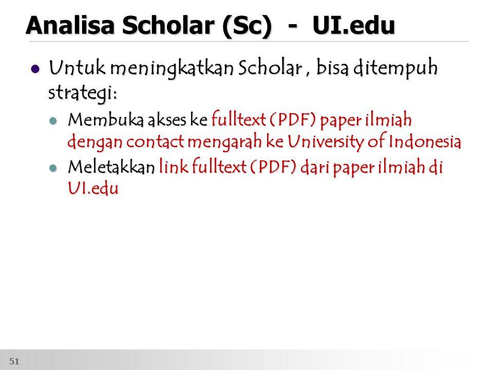 Analisa Scholar (Sc) - UI.edu Untuk meningkatkan Scholar, bisa ditempuh strategi: Untuk meningkatkan Scholar, bisa ditempuh strategi: Membuka akses ke fulltext (PDF) paper ilmiah dengan contact mengarah ke University of Indonesia Membuka akses ke fulltext (PDF) paper ilmiah dengan contact mengarah ke University of Indonesia Meletakkan link fulltext (PDF) dari paper ilmiah di UI.edu Meletakkan link fulltext (PDF) dari paper ilmiah di UI.edu 51