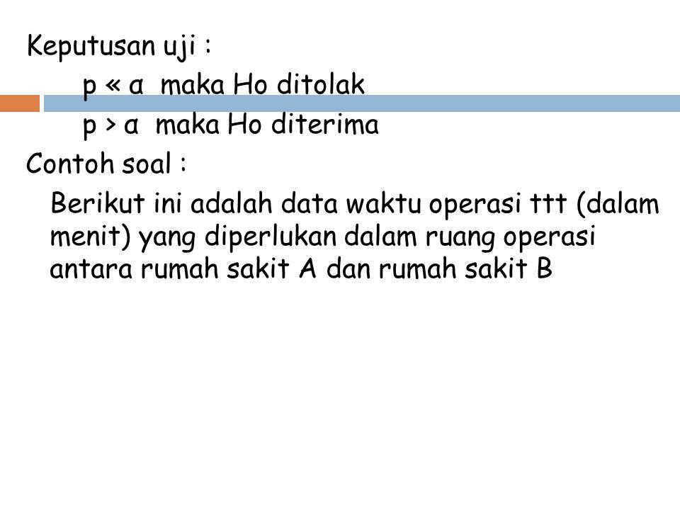 Keputusan uji : p « α maka Ho ditolak p > α maka Ho diterima Contoh soal : Berikut ini adalah data waktu operasi ttt (dalam menit) yang diperlukan dal