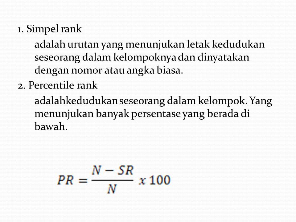 1. Simpel rank adalah urutan yang menunjukan letak kedudukan seseorang dalam kelompoknya dan dinyatakan dengan nomor atau angka biasa. 2. Percentile r