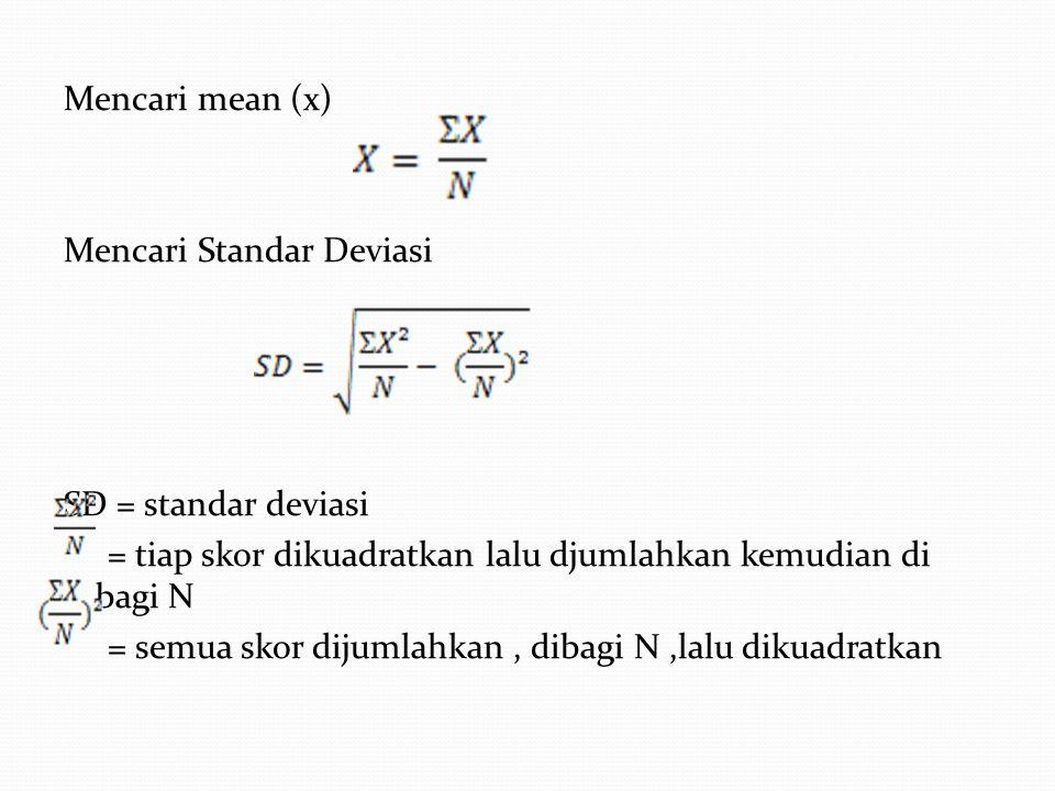 Mencari mean (x) Mencari Standar Deviasi SD = standar deviasi = tiap skor dikuadratkan lalu djumlahkan kemudian di bagi N = semua skor dijumlahkan, di