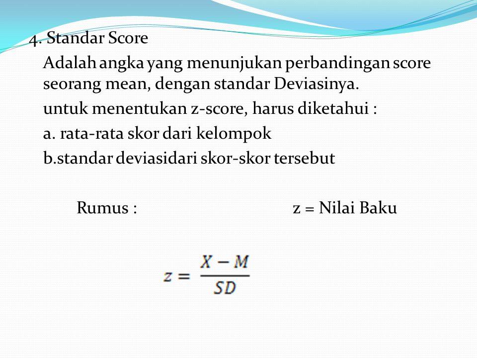 4. Standar Score Adalah angka yang menunjukan perbandingan score seorang mean, dengan standar Deviasinya. untuk menentukan z-score, harus diketahui :