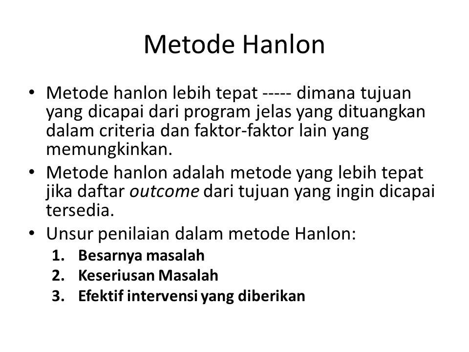 Metode Hanlon Metode hanlon lebih tepat ----- dimana tujuan yang dicapai dari program jelas yang dituangkan dalam criteria dan faktor-faktor lain yang memungkinkan.