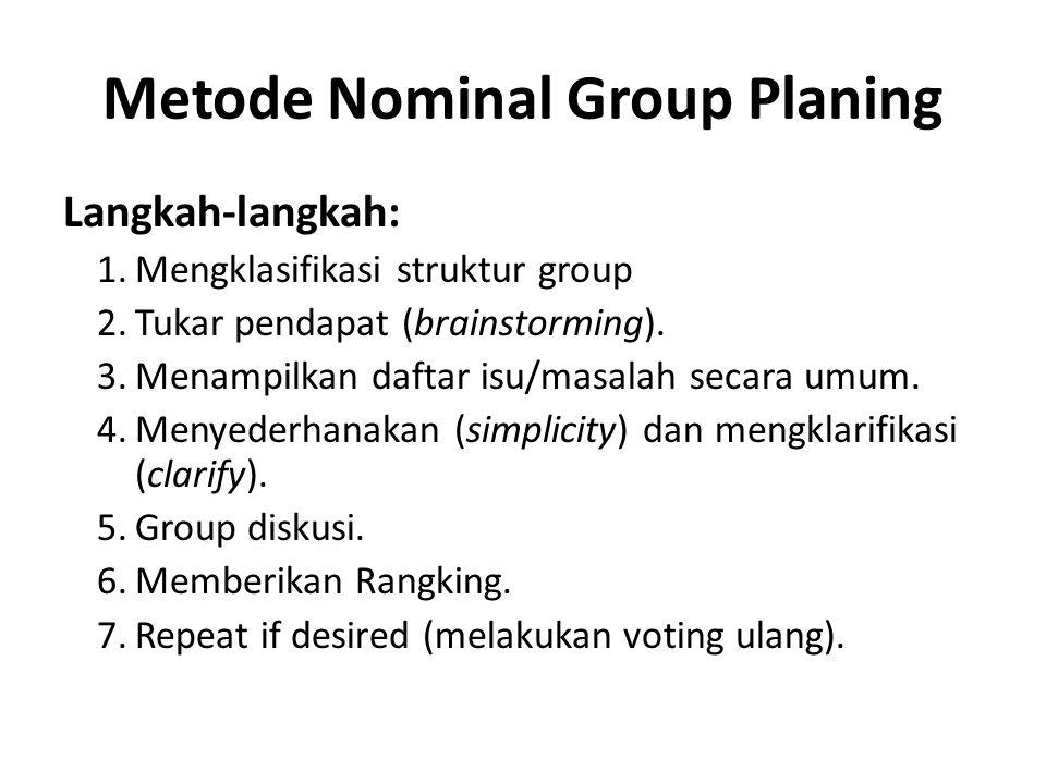 Metode Nominal Group Planing Langkah-langkah: 1.Mengklasifikasi struktur group 2.Tukar pendapat (brainstorming).