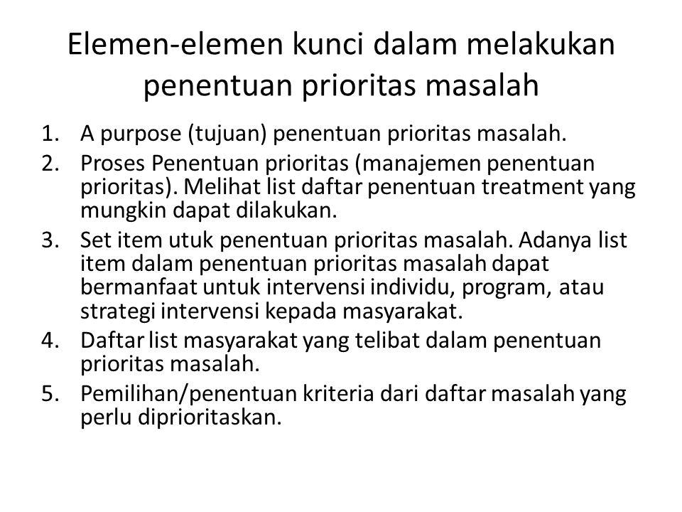 Elemen-elemen kunci dalam melakukan penentuan prioritas masalah 1.A purpose (tujuan) penentuan prioritas masalah.