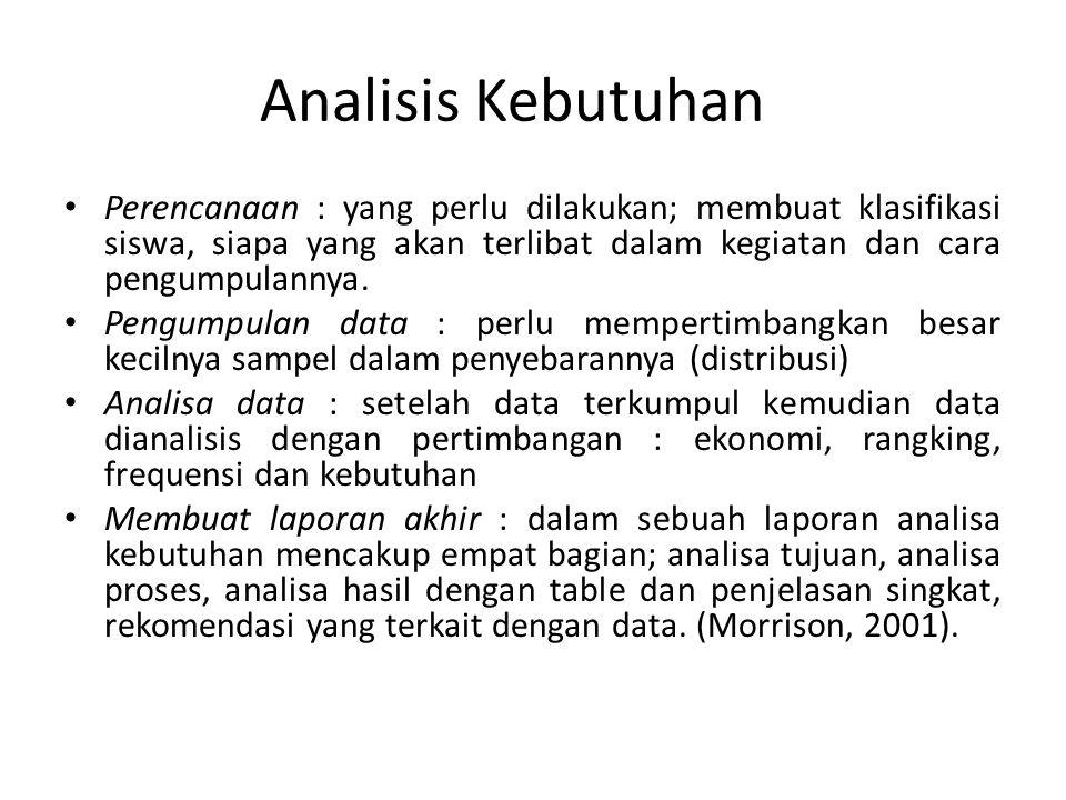 Analisis Kebutuhan Perencanaan : yang perlu dilakukan; membuat klasifikasi siswa, siapa yang akan terlibat dalam kegiatan dan cara pengumpulannya. Pen
