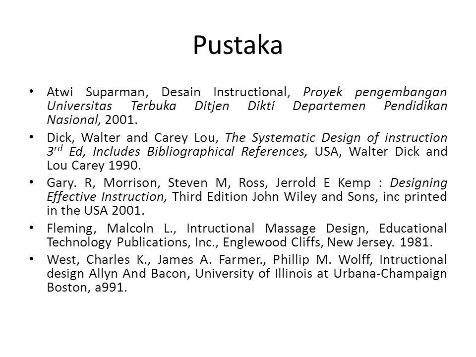Pustaka Atwi Suparman, Desain Instructional, Proyek pengembangan Universitas Terbuka Ditjen Dikti Departemen Pendidikan Nasional, 2001. Dick, Walter a