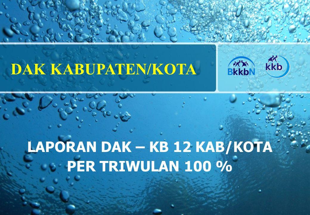 LAPORAN DAK – KB 12 KAB/KOTA PER TRIWULAN 100 % DAK KABUPATEN/KOTA