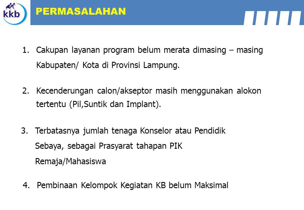 1.Cakupan layanan program belum merata dimasing – masing Kabupaten/ Kota di Provinsi Lampung. 2.Kecenderungan calon/akseptor masih menggunakan alokon