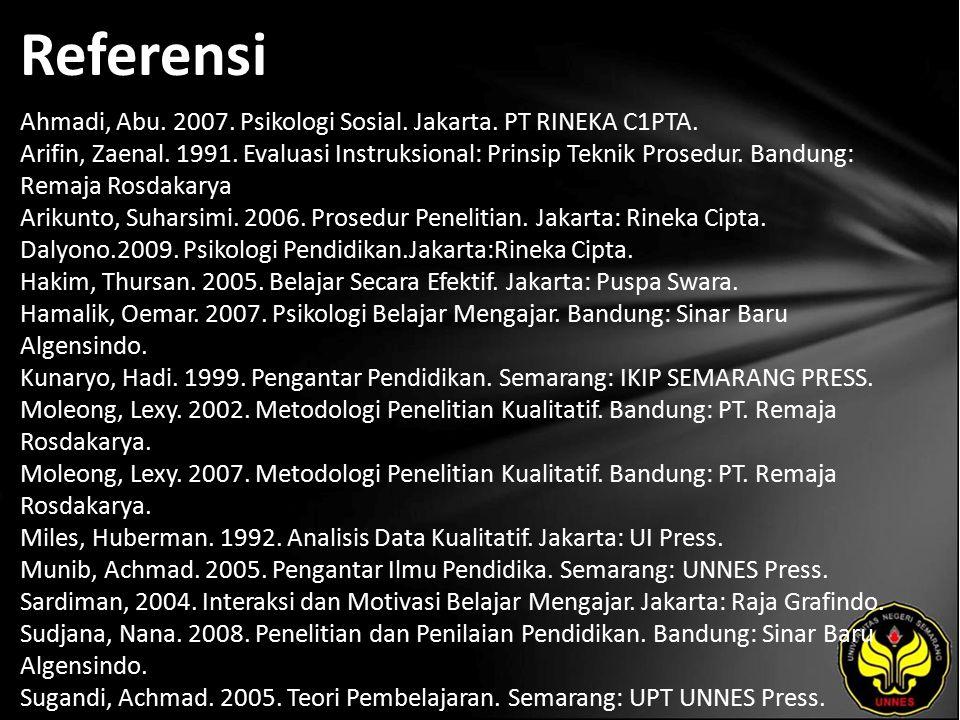 Referensi Ahmadi, Abu. 2007. Psikologi Sosial. Jakarta.