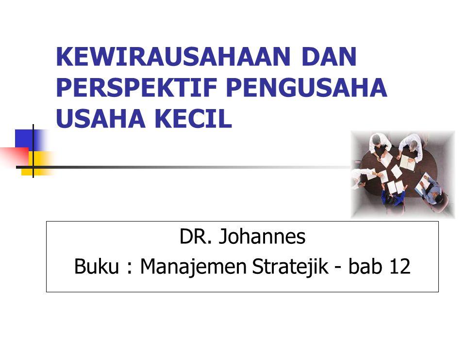 KEWIRAUSAHAAN DAN PERSPEKTIF PENGUSAHA USAHA KECIL DR. Johannes Buku : Manajemen Stratejik - bab 12