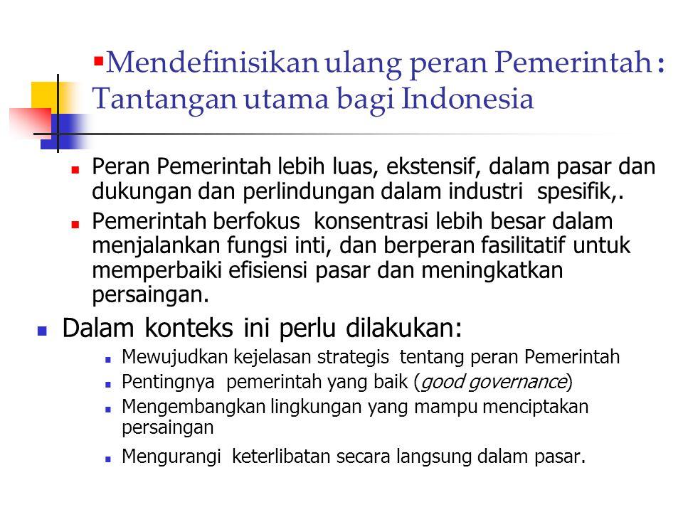  Mendefinisikan ulang peran Pemerintah : Tantangan utama bagi Indonesia Peran Pemerintah lebih luas, ekstensif, dalam pasar dan dukungan dan perlindu