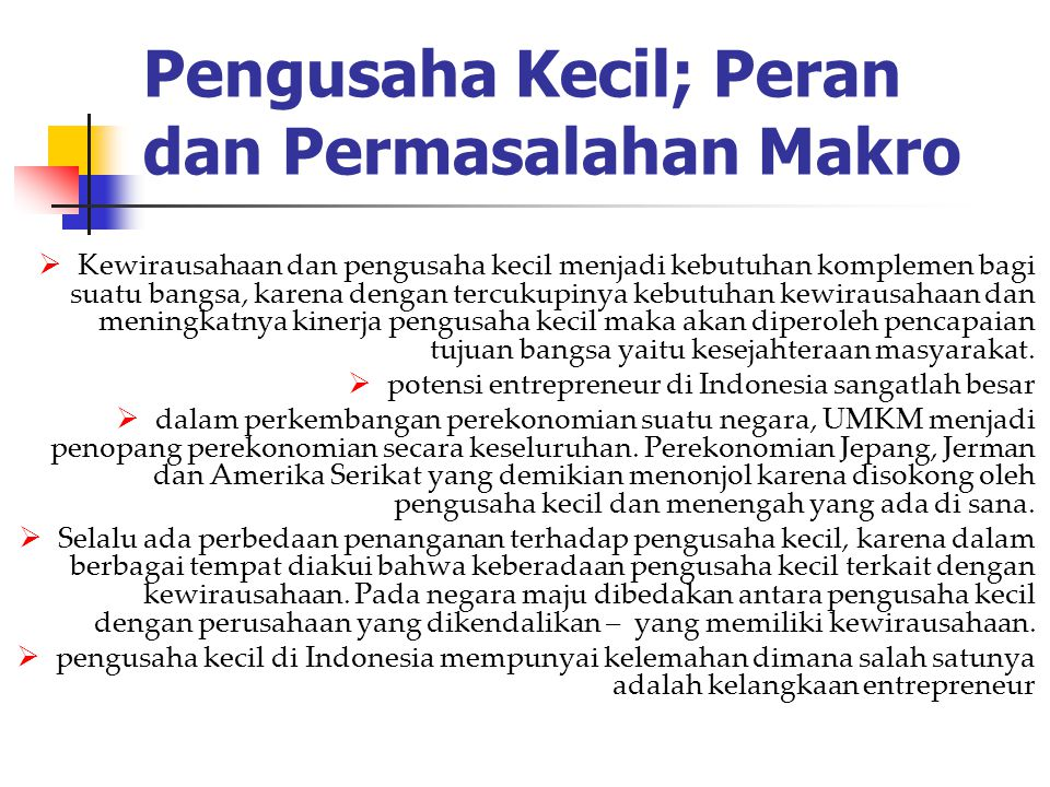 Pengusaha Kecil; Peran dan Permasalahan Makro  Kewirausahaan dan pengusaha kecil menjadi kebutuhan komplemen bagi suatu bangsa, karena dengan tercuku