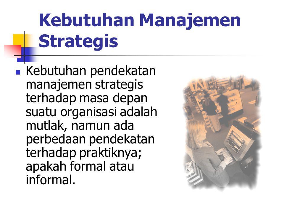 Kebutuhan Manajemen Strategis Kebutuhan pendekatan manajemen strategis terhadap masa depan suatu organisasi adalah mutlak, namun ada perbedaan pendeka