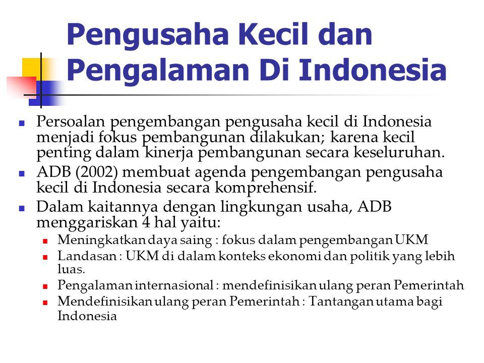 Pengusaha Kecil dan Pengalaman Di Indonesia Persoalan pengembangan pengusaha kecil di Indonesia menjadi fokus pembangunan dilakukan; karena kecil pent