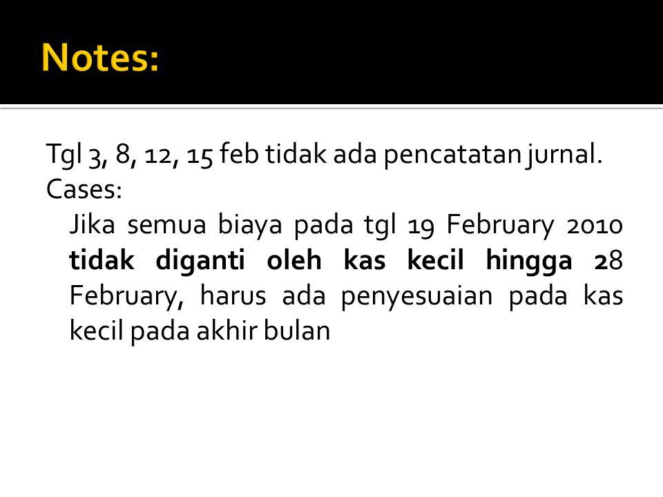 Tgl 3, 8, 12, 15 feb tidak ada pencatatan jurnal. Cases: Jika semua biaya pada tgl 19 February 2010 tidak diganti oleh kas kecil hingga 28 February, h