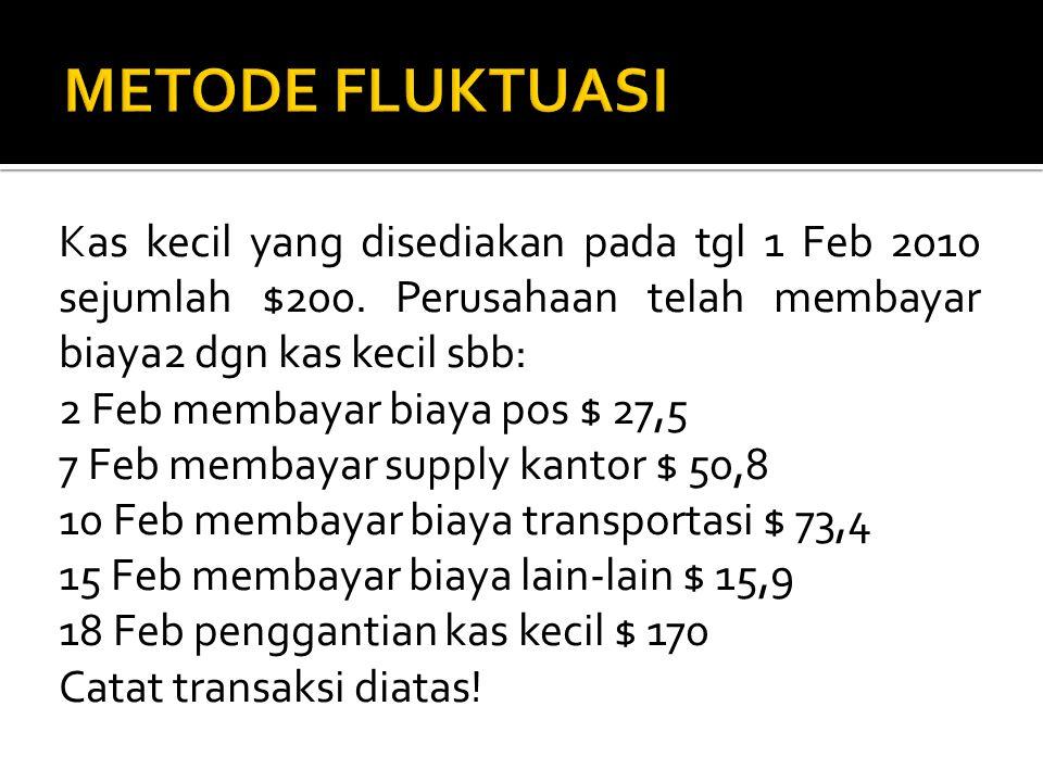 Kas kecil yang disediakan pada tgl 1 Feb 2010 sejumlah $200. Perusahaan telah membayar biaya2 dgn kas kecil sbb: 2 Feb membayar biaya pos $ 27,5 7 Feb