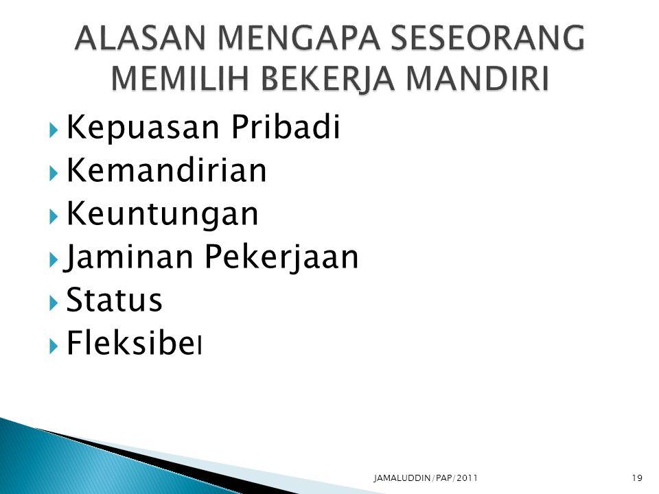  Kepuasan Pribadi  Kemandirian  Keuntungan  Jaminan Pekerjaan  Status  Fleksibe l JAMALUDDIN/PAP/201119