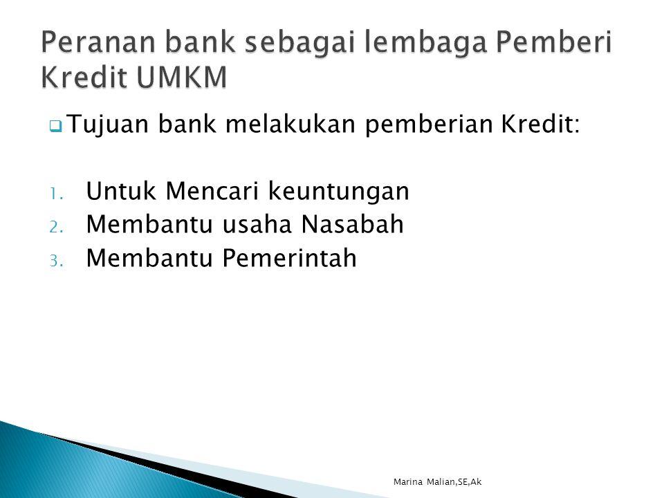  Tujuan bank melakukan pemberian Kredit: 1. Untuk Mencari keuntungan 2.