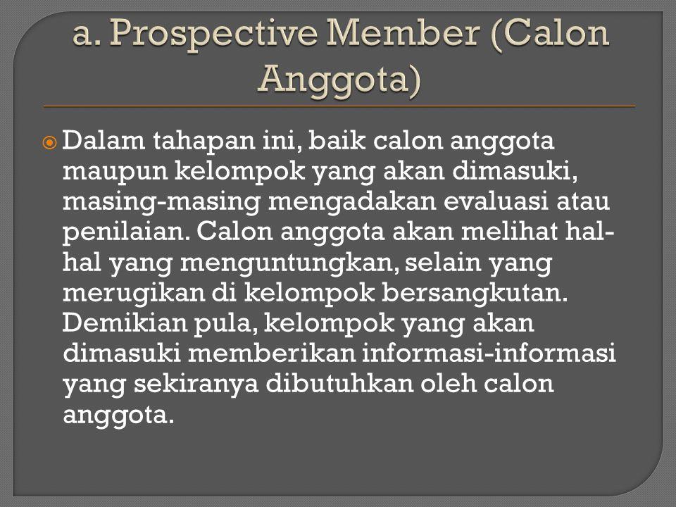  Dalam tahapan ini, baik calon anggota maupun kelompok yang akan dimasuki, masing-masing mengadakan evaluasi atau penilaian.