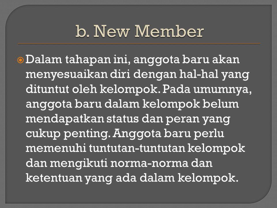  Dalam tahapan ini, anggota baru akan menyesuaikan diri dengan hal-hal yang dituntut oleh kelompok.