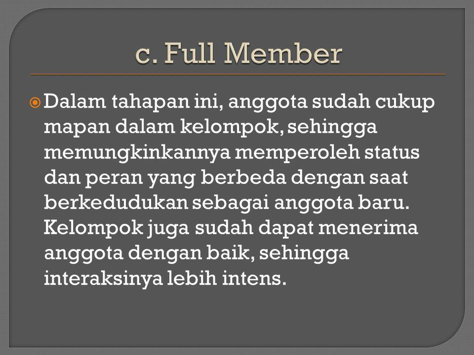  Dalam tahapan ini, anggota sudah cukup mapan dalam kelompok, sehingga memungkinkannya memperoleh status dan peran yang berbeda dengan saat berkedudukan sebagai anggota baru.