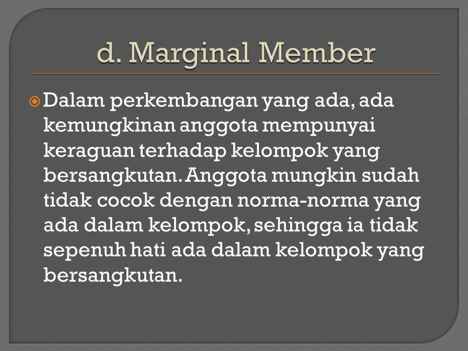  Dalam perkembangan yang ada, ada kemungkinan anggota mempunyai keraguan terhadap kelompok yang bersangkutan.