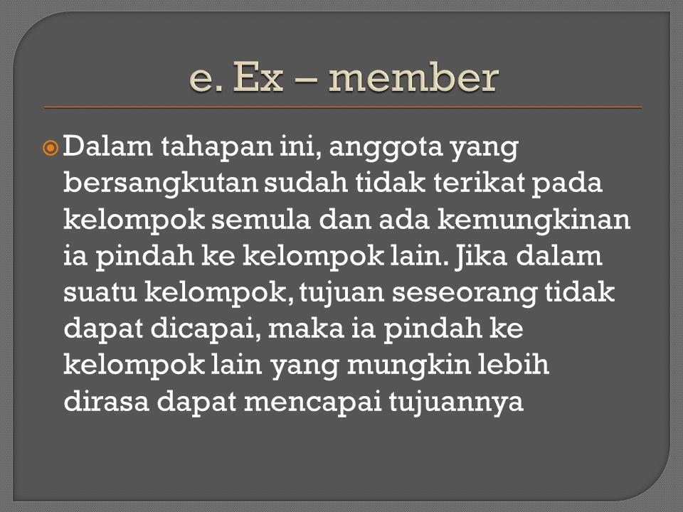  Dalam tahapan ini, anggota yang bersangkutan sudah tidak terikat pada kelompok semula dan ada kemungkinan ia pindah ke kelompok lain.