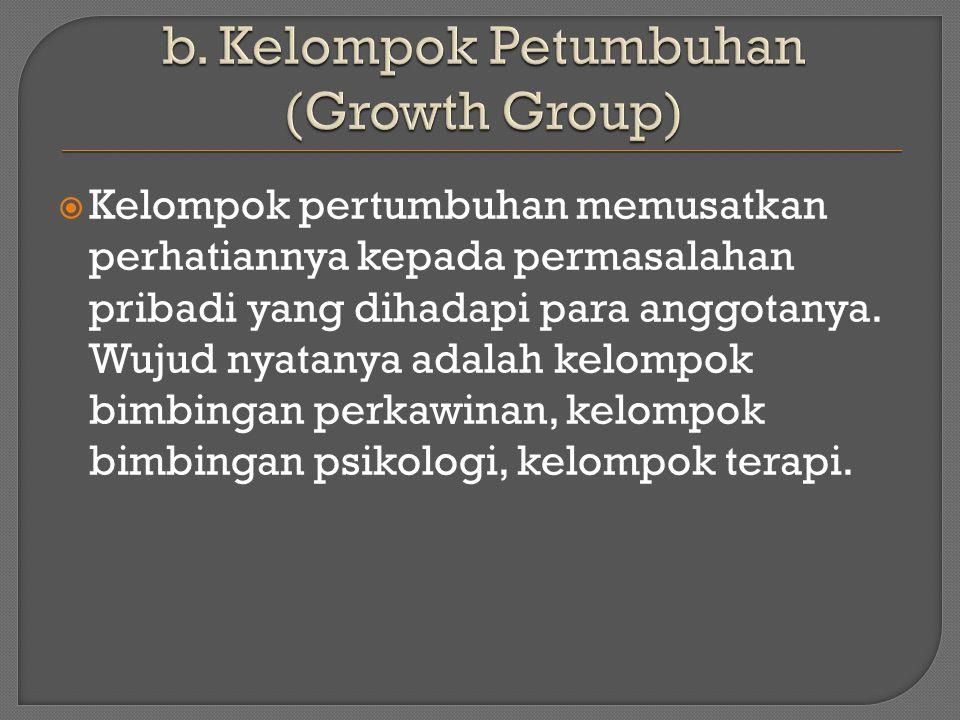  Kelompok pertumbuhan memusatkan perhatiannya kepada permasalahan pribadi yang dihadapi para anggotanya.
