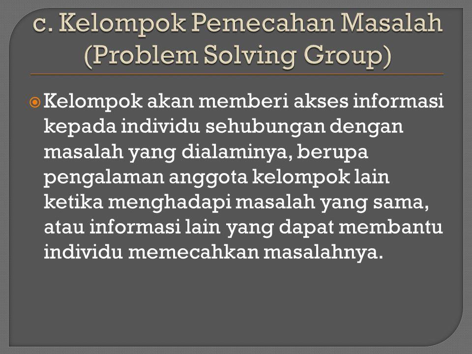  Kelompok akan memberi akses informasi kepada individu sehubungan dengan masalah yang dialaminya, berupa pengalaman anggota kelompok lain ketika menghadapi masalah yang sama, atau informasi lain yang dapat membantu individu memecahkan masalahnya.