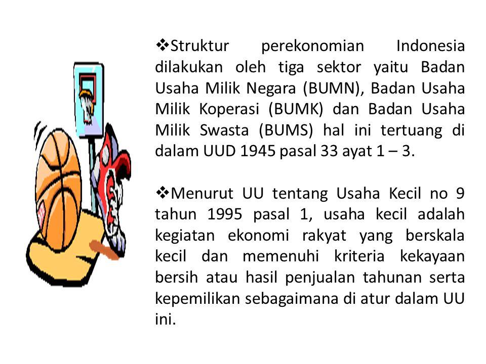  Struktur perekonomian Indonesia dilakukan oleh tiga sektor yaitu Badan Usaha Milik Negara (BUMN), Badan Usaha Milik Koperasi (BUMK) dan Badan Usaha Milik Swasta (BUMS) hal ini tertuang di dalam UUD 1945 pasal 33 ayat 1 – 3.