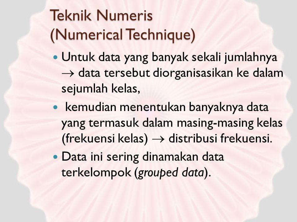 Teknik Numeris (Numerical Technique) Untuk data yang banyak sekali jumlahnya  data tersebut diorganisasikan ke dalam sejumlah kelas, kemudian menentu
