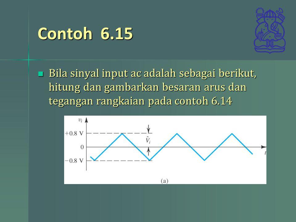 Contoh 6.15 Bila sinyal input ac adalah sebagai berikut, hitung dan gambarkan besaran arus dan tegangan rangkaian pada contoh 6.14 Bila sinyal input ac adalah sebagai berikut, hitung dan gambarkan besaran arus dan tegangan rangkaian pada contoh 6.14