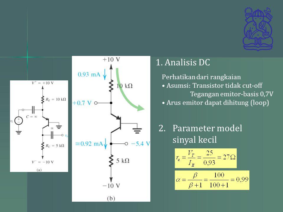 loop Perhatikan dari rangkaian Asumsi: Transistor tidak cut-off Tegangan emitor-basis 0,7V Arus emitor dapat dihitung (loop) 1.