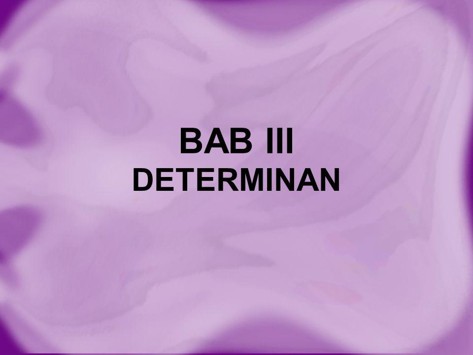 Definisi DETERMINAN adalah suatu bilangan riil yang diperoleh dari suatu proses dengan aturan tertentu terhadap matriks bujur sangkar.