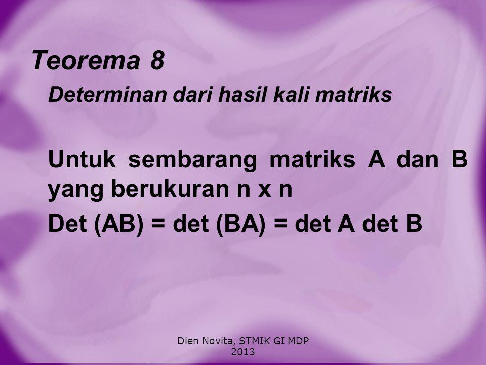 CARA MENENTUKAN DETERMINAN 1.Dengan aturan sarrus untuk matriks ukuran 2 x 2 dan 3 x 3 2.Dengan ekspansi kofaktor 3.Dengan reduksi baris Dien Novita, STMIK GI MDP 2013