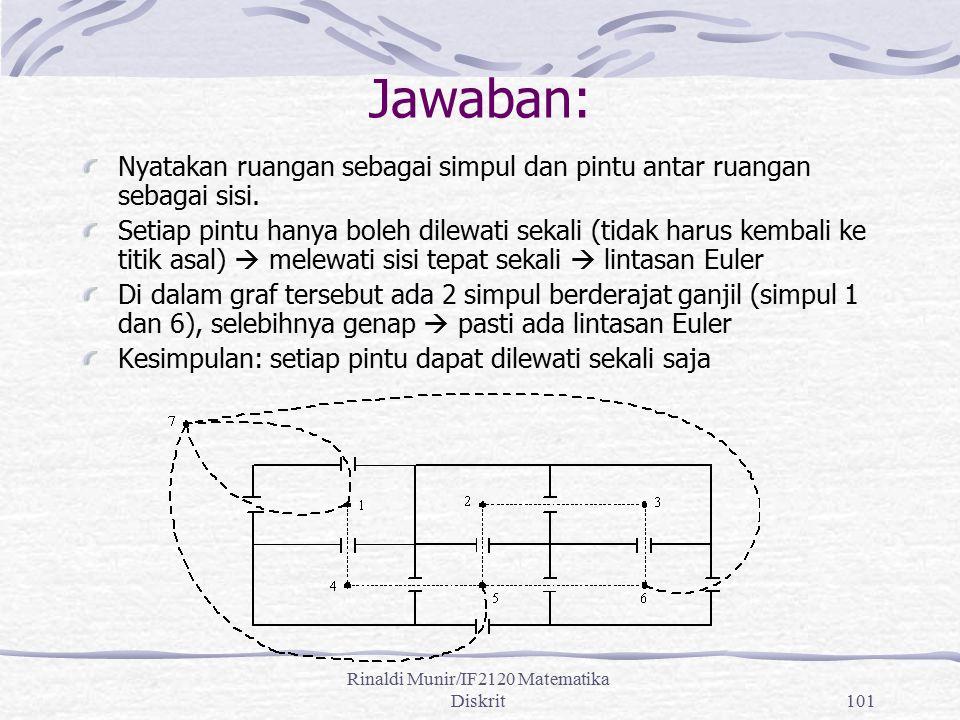 Rinaldi Munir/IF2120 Matematika Diskrit101 Jawaban: Nyatakan ruangan sebagai simpul dan pintu antar ruangan sebagai sisi. Setiap pintu hanya boleh dil