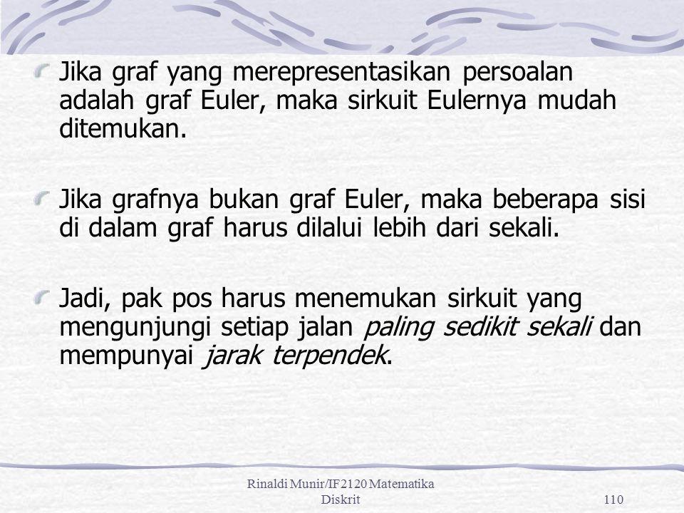 Rinaldi Munir/IF2120 Matematika Diskrit110 Jika graf yang merepresentasikan persoalan adalah graf Euler, maka sirkuit Eulernya mudah ditemukan. Jika g