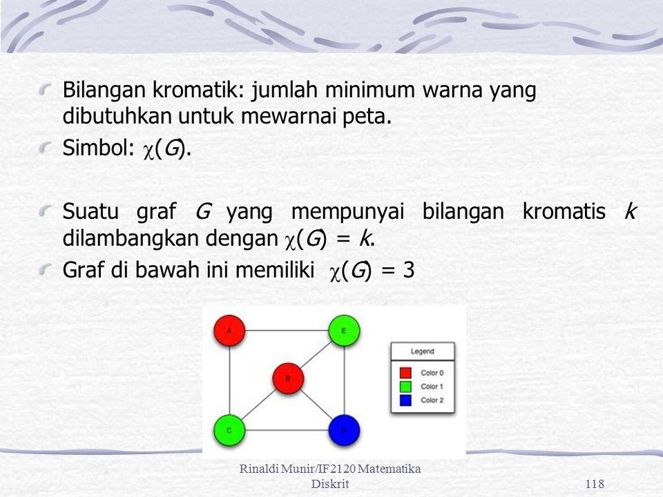 Rinaldi Munir/IF2120 Matematika Diskrit118 Bilangan kromatik: jumlah minimum warna yang dibutuhkan untuk mewarnai peta. Simbol:  (G). Suatu graf G ya