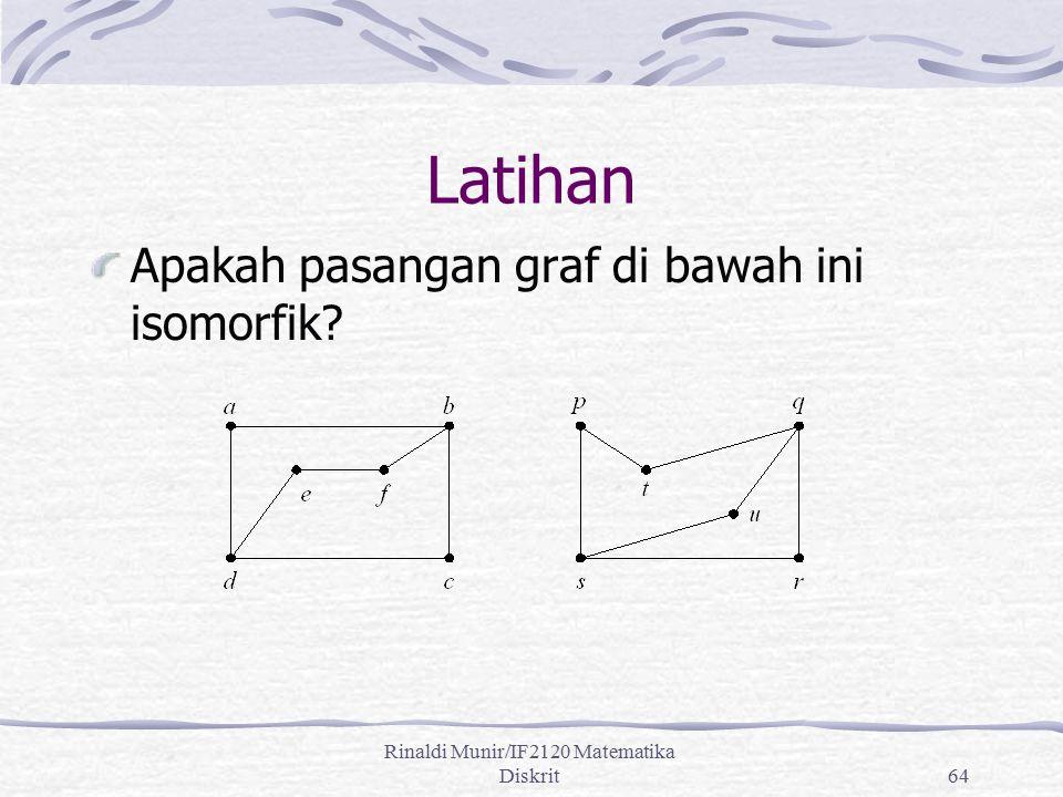 Rinaldi Munir/IF2120 Matematika Diskrit64 Latihan Apakah pasangan graf di bawah ini isomorfik?