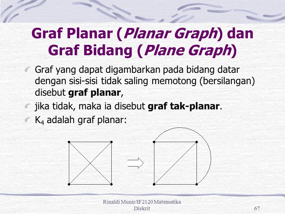 Rinaldi Munir/IF2120 Matematika Diskrit67 Graf Planar (Planar Graph) dan Graf Bidang (Plane Graph) Graf yang dapat digambarkan pada bidang datar denga