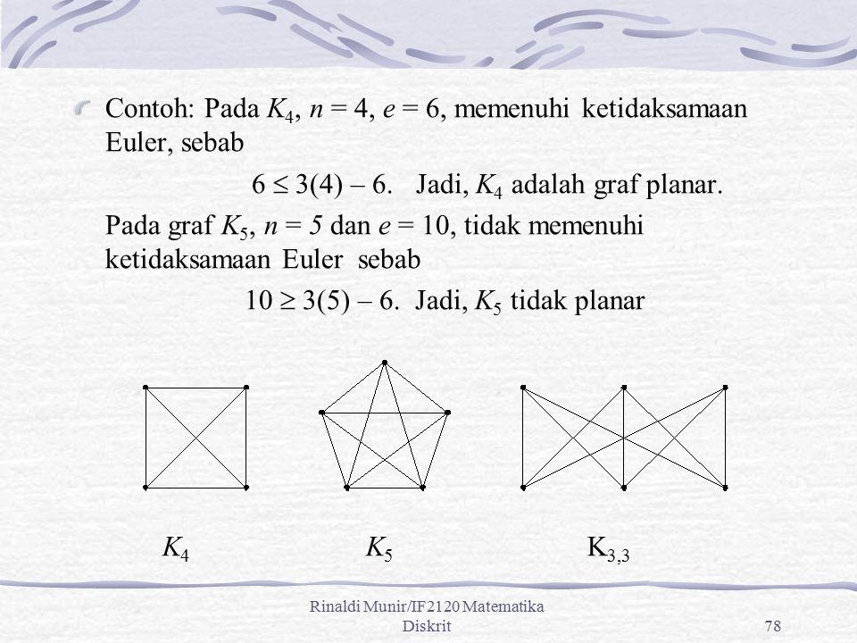 Rinaldi Munir/IF2120 Matematika Diskrit78 Contoh: Pada K 4, n = 4, e = 6, memenuhi ketidaksamaan Euler, sebab 6  3(4) – 6. Jadi, K 4 adalah graf plan