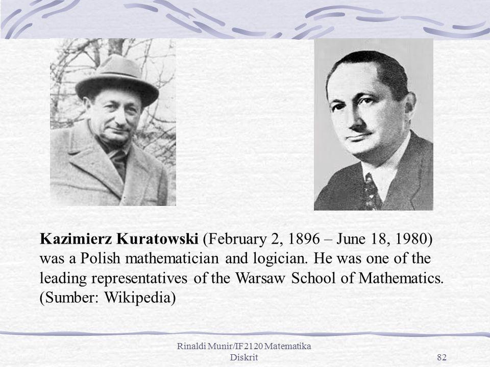 Rinaldi Munir/IF2120 Matematika Diskrit82 Kazimierz Kuratowski (February 2, 1896 – June 18, 1980) was a Polish mathematician and logician. He was one