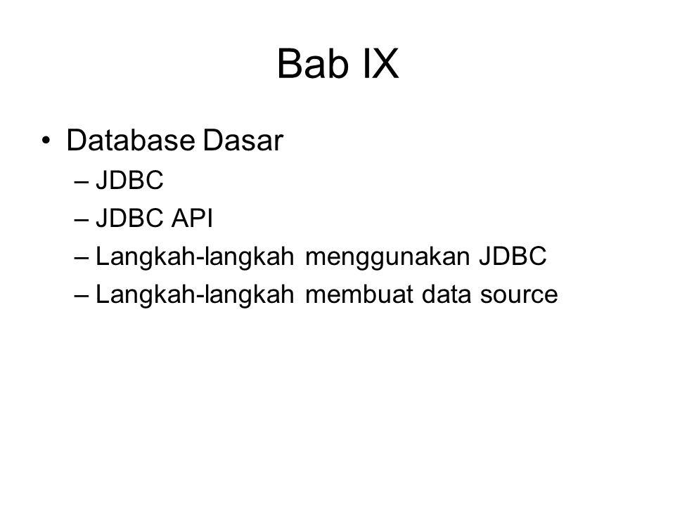 Bab IX Database Dasar –JDBC –JDBC API –Langkah-langkah menggunakan JDBC –Langkah-langkah membuat data source